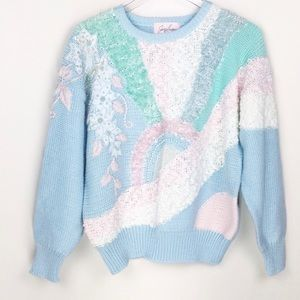 VINTAGE fairy kei kawaii pastel knit retro sweater